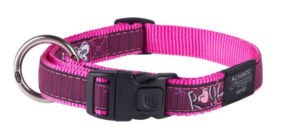 Rogz Fancy Dress Collar Pink Love Lge