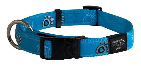 Rogz Fancy Dress Collar Turquoise Paws XL