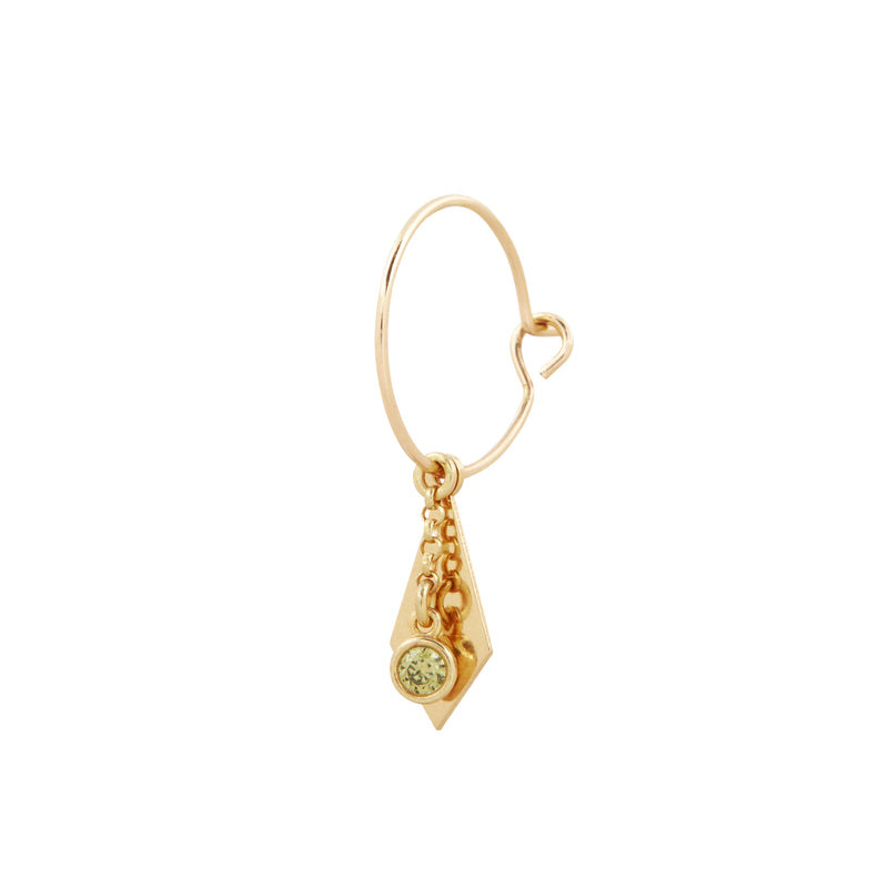 Peridot Single Charm with Small Rolo Chain in Gold