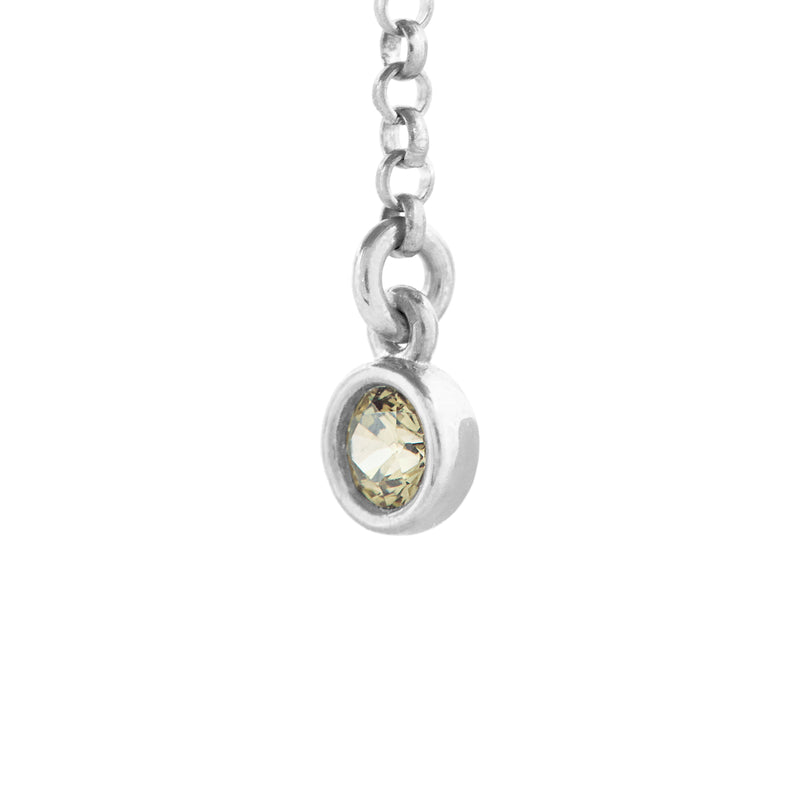 Peridot Single Charm with Small Rolo Chain in Silver