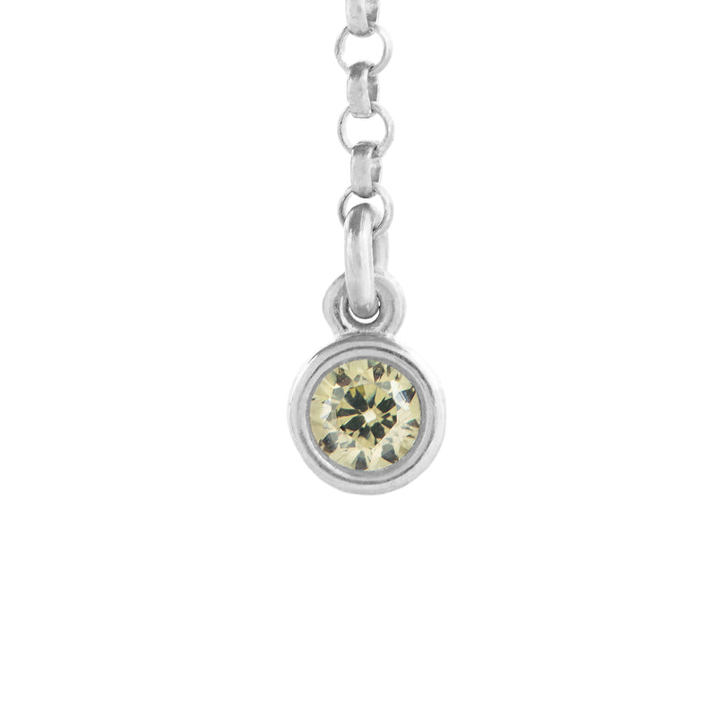 Peridot Single Charm with Long Rolo Chain in Silver