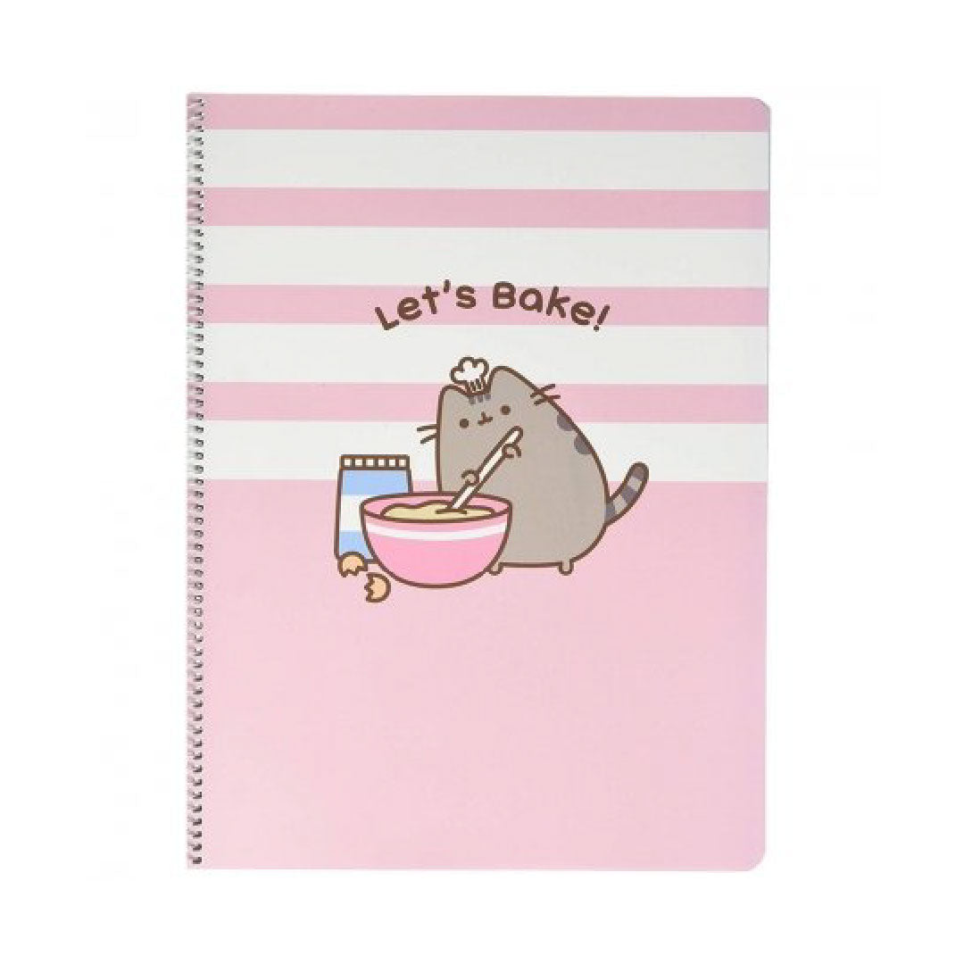 Erik Pusheen Notebook Let's Bake! Polypropylene Cover A4 5×5 Rose Collection | Toy Galeria Singapore