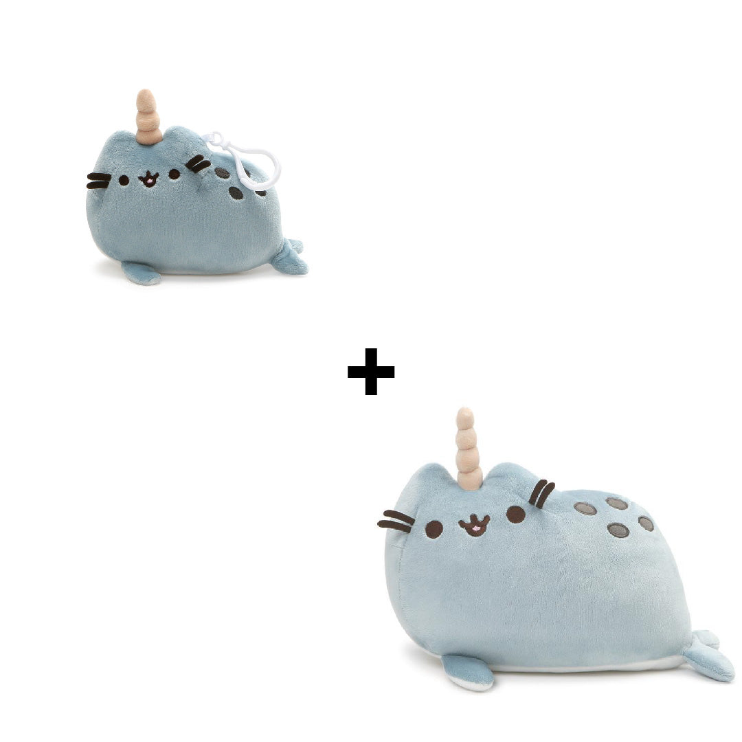 Gund Pusheen Narwhal Plush and Pusheen Narwhal Backpack Clip | Toy Galeria Singapore