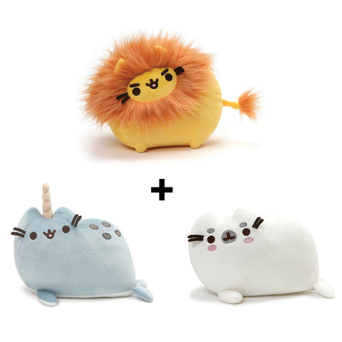 Gund Pusheen Lion Plush and Pusheen Seal Plush and Pusheen Narwhal Plush | Toy Galeria Singapore