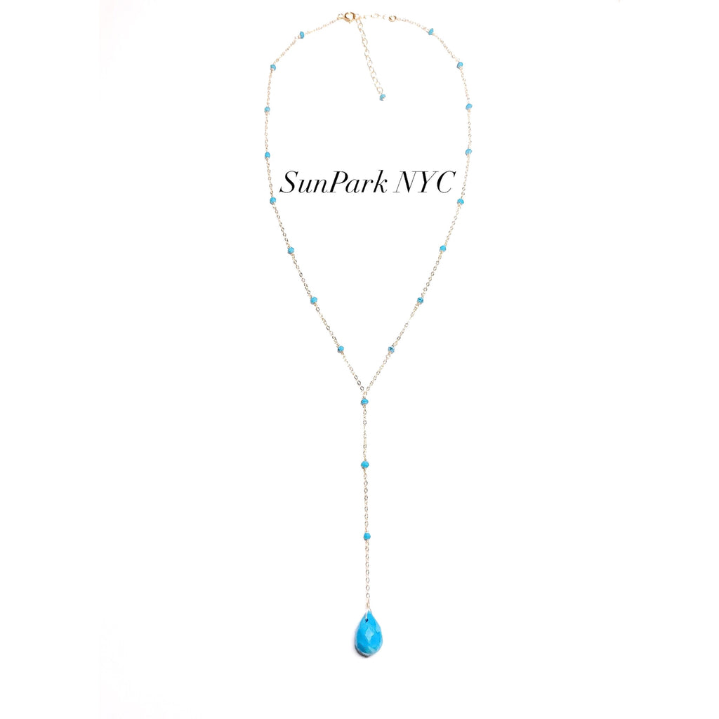 HANDCRAFTED TURQUOISE X GOLD LARIAT NECKLACE