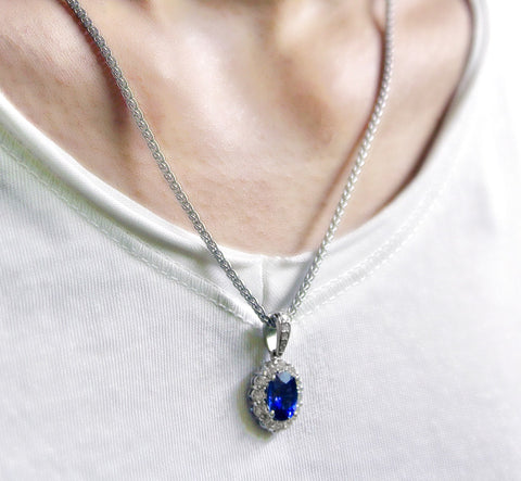 Blue Sapphire Necklace worn by a woman