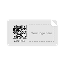 "Load image into Gallery viewer, 100 Medium Protected Labels Black Print (2.15"" x 1.15"" rectangular)"
