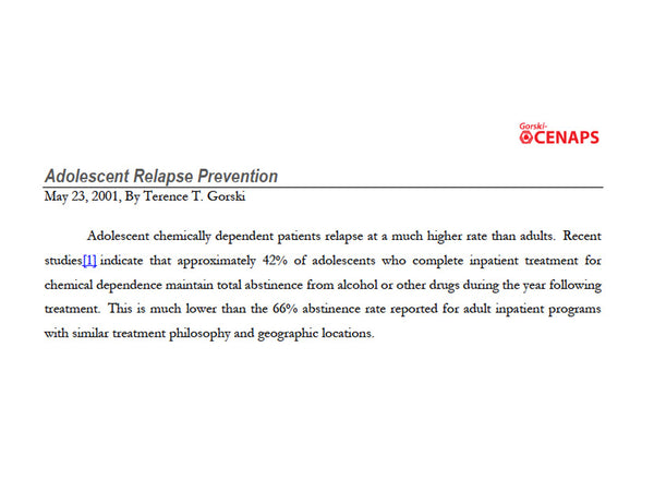 Adolescent Relapse Prevention