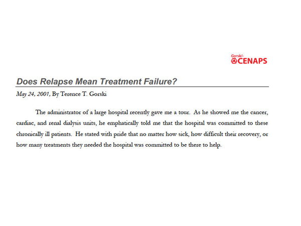 Does Relapse Mean Treatment Failure?