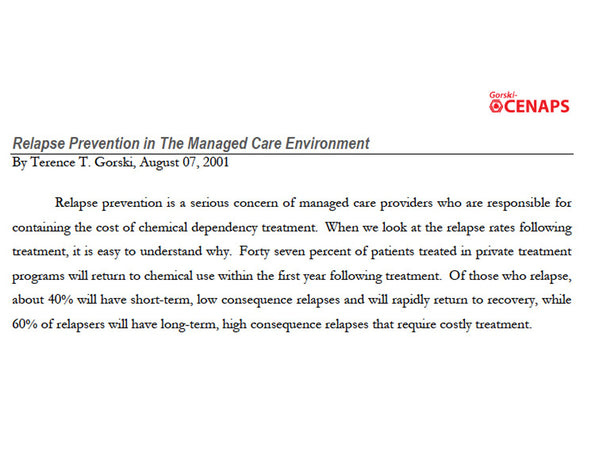 Relapse Prevention in the Managed Care Environment
