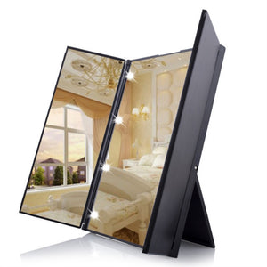 Tri-Fold Lighted LED Travel Mirror