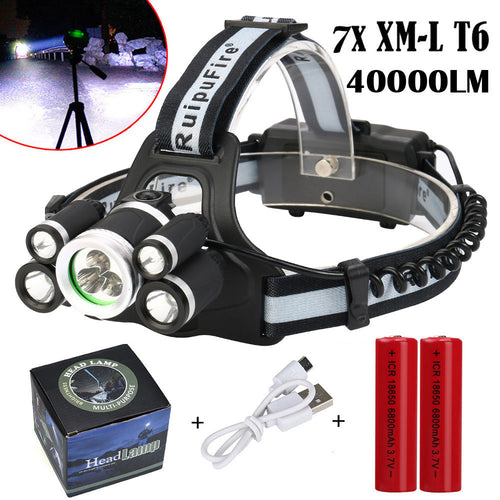 40000 LM 7X XM-L T6 LED Rechargeable Headlamp