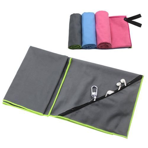 Microfiber Quick Drying Towel with Zipper Pocket Holder