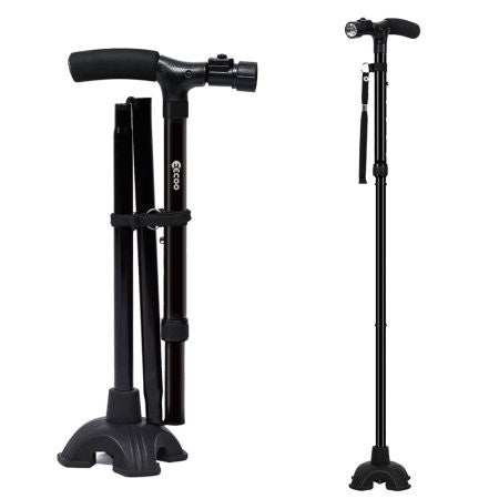 Folding Walking Cane Lightweight  with LED Light and Cushion Handle