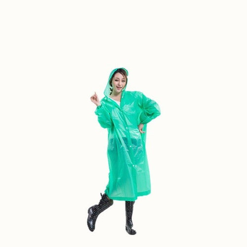 Raincoat Durable EVA Rain Poncho with Hat Hood for Outdoor Travel