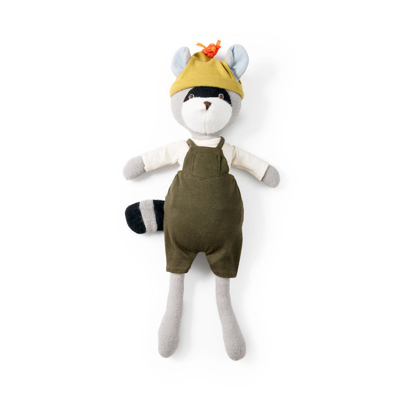 Hazel Village organic cotton Max Raccoon toy wearing green overalls, white shirt and yellow hat