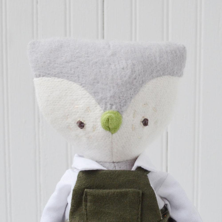 Hazel Village organic cotton stuffed animal - Jeremy Owl wearing overalls and a white shirt