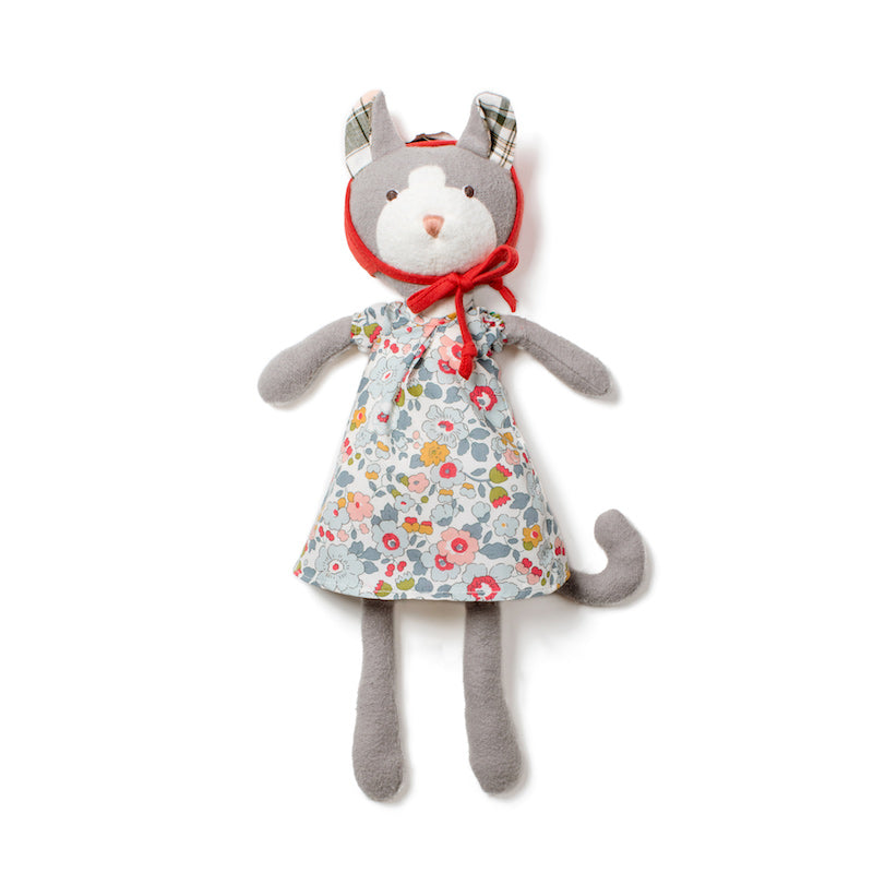 Hazel Village organic cotton doll - Gracie Cat dressed in floral Liberty of London printed dress and red bonnet