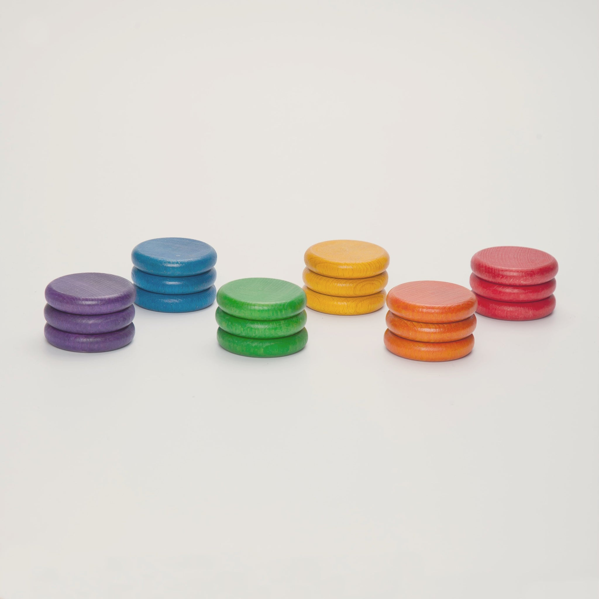 Grapat 18 colourful wooden coins in 6 colours