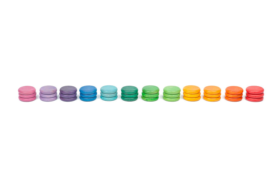 Grapat 36 wooden coins in 12 colours