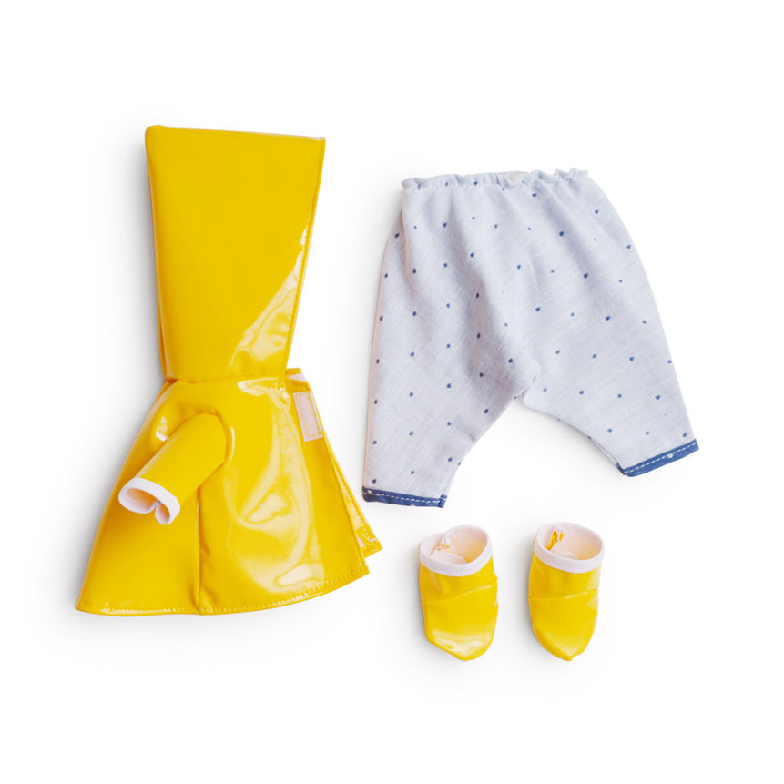 Hazel Village raincoat outfit for dolls including yellow jacket, rain boots and pants