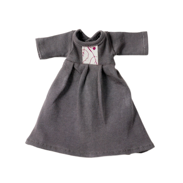 Organic cotton dress in dark grey to fit Hazel Village dolls and animals