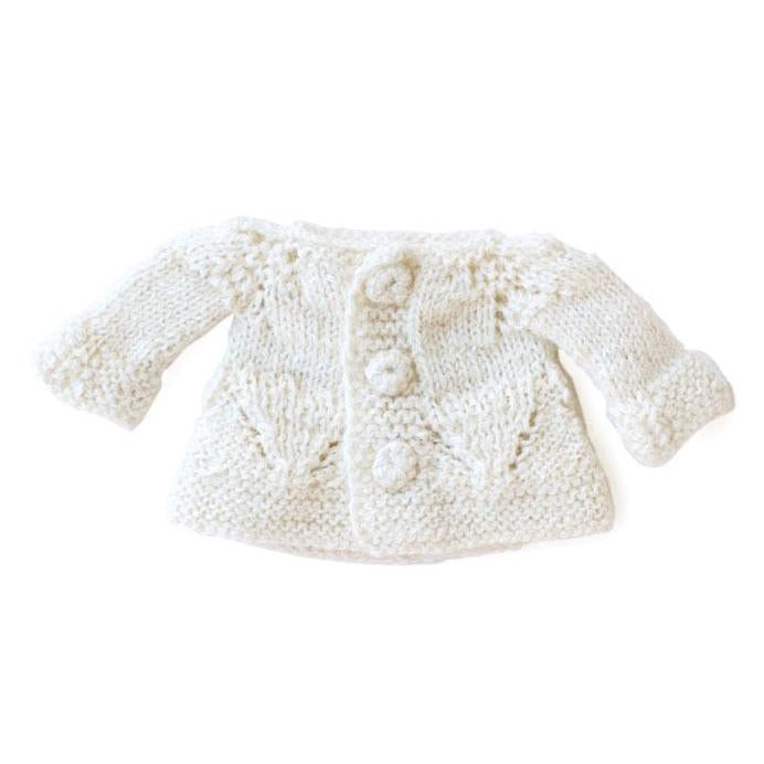 Knitted alpaca sweater in ivory, to fit Hazel Village dolls and animals