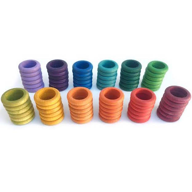 Grapat 72 Rings - Set of 72 wooden colourful rings in 12 different colours