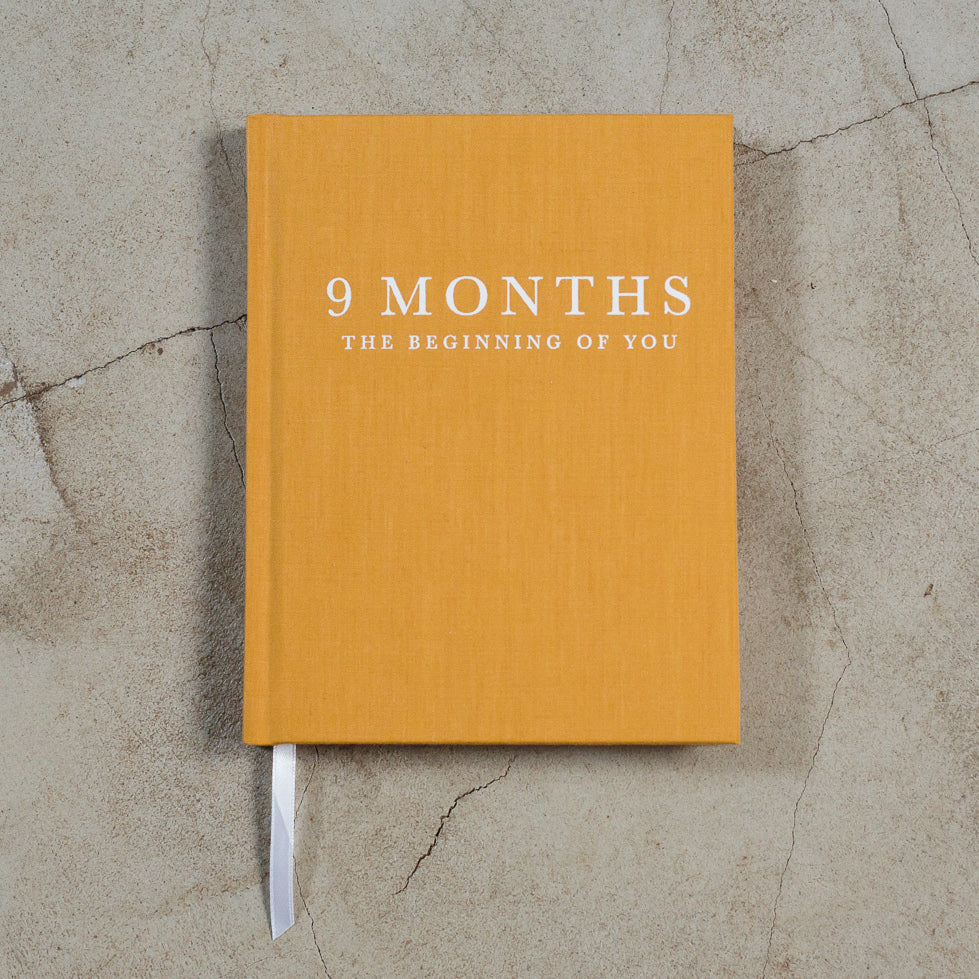 Write To Me 9 months pregnancy journal in mustard yellow linen