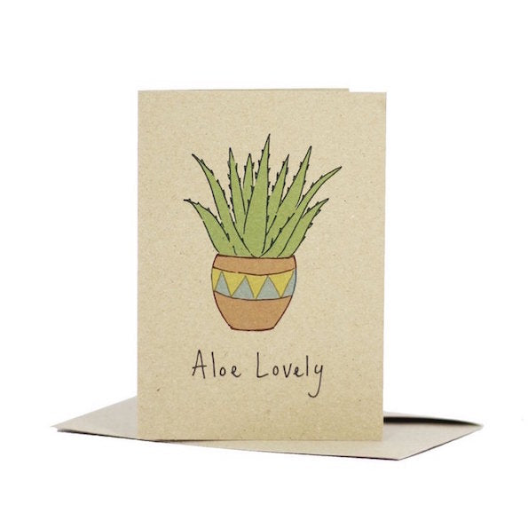 Deer Daisy Aloe Lovely kraft board greeting card
