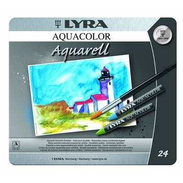 Lyra Aquacolor Watercolour Artist Crayons - 24 in Tin