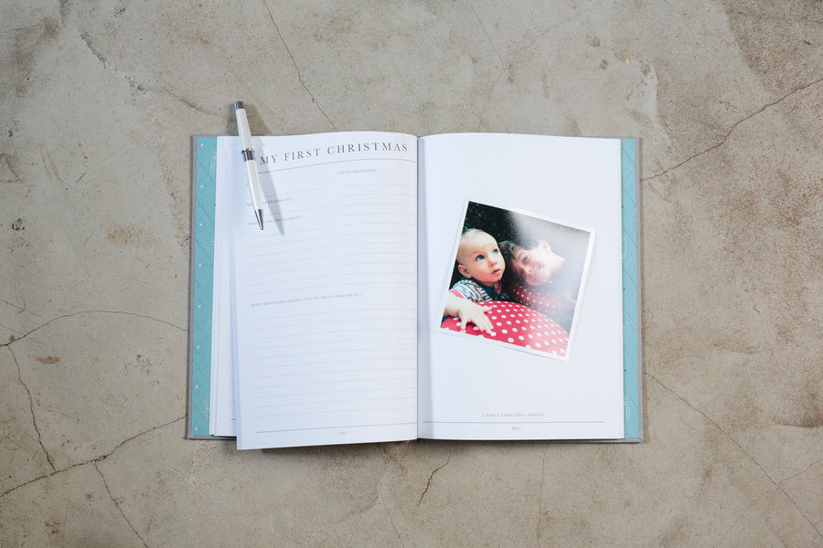 Write to Me grey linen baby journal - birth to five years