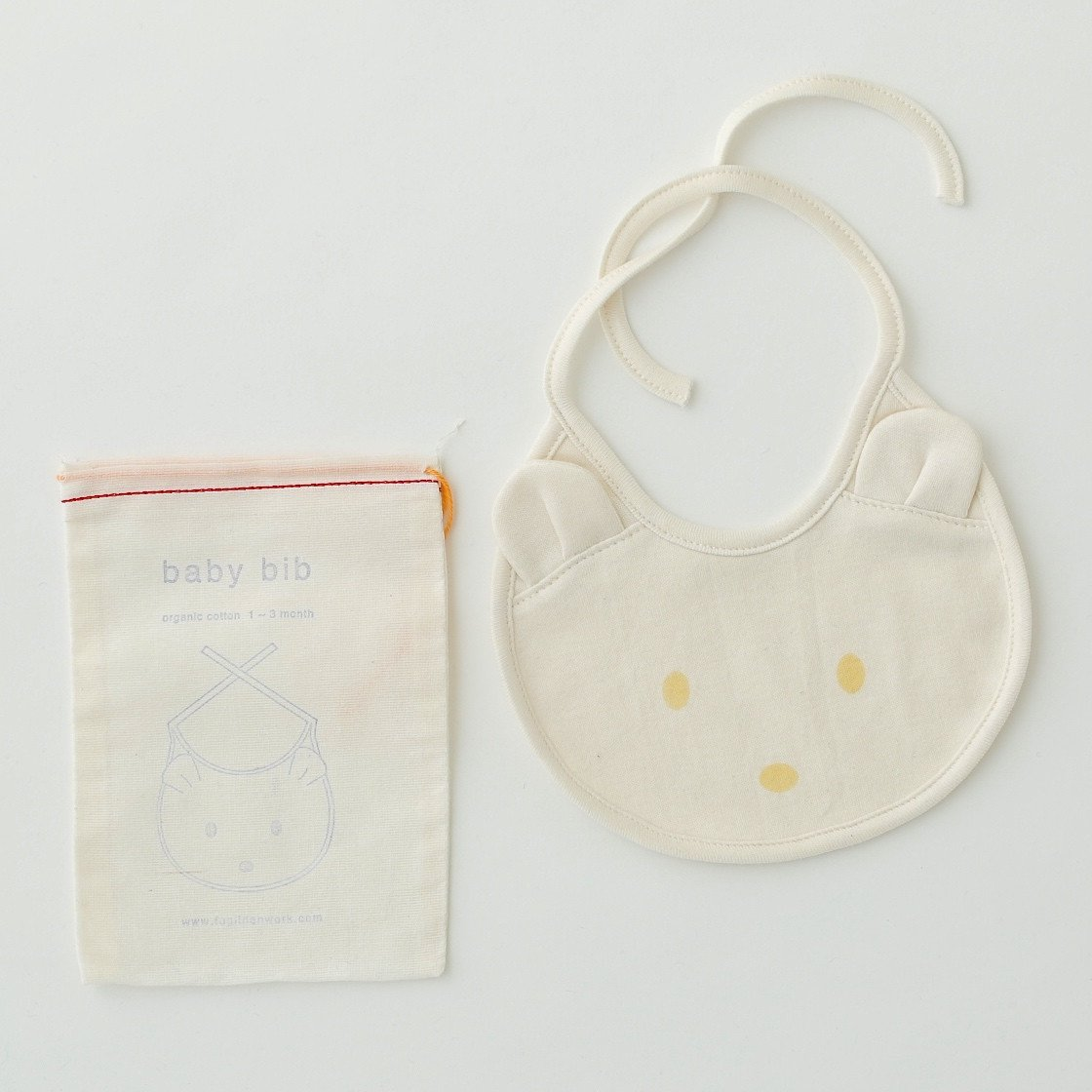 Fog Linen Work organic cotton baby bib with bear face and ears in white with cotton drawstring bag