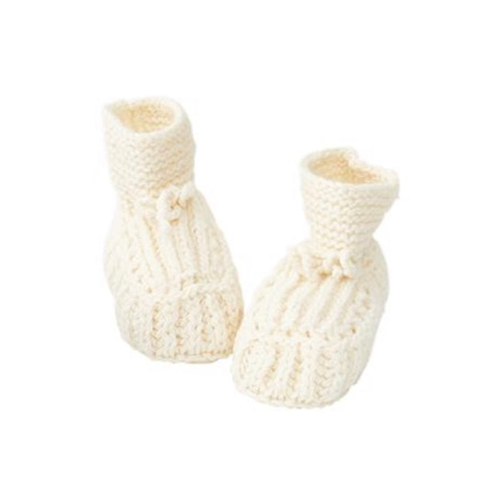 Fog Linen Work knitted baby booties - wool white