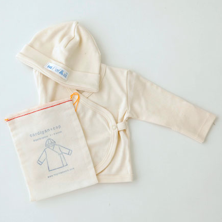 Fog Linen Work Organic Cotton Baby Cap and Cardigan and drawstring cotton bag