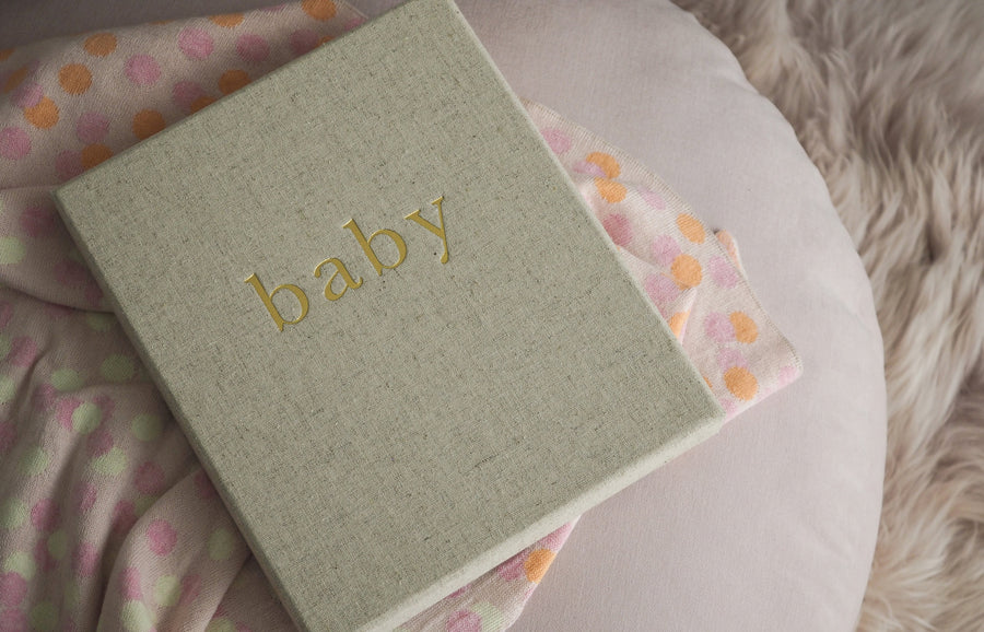 Write to Me linen baby journal and box