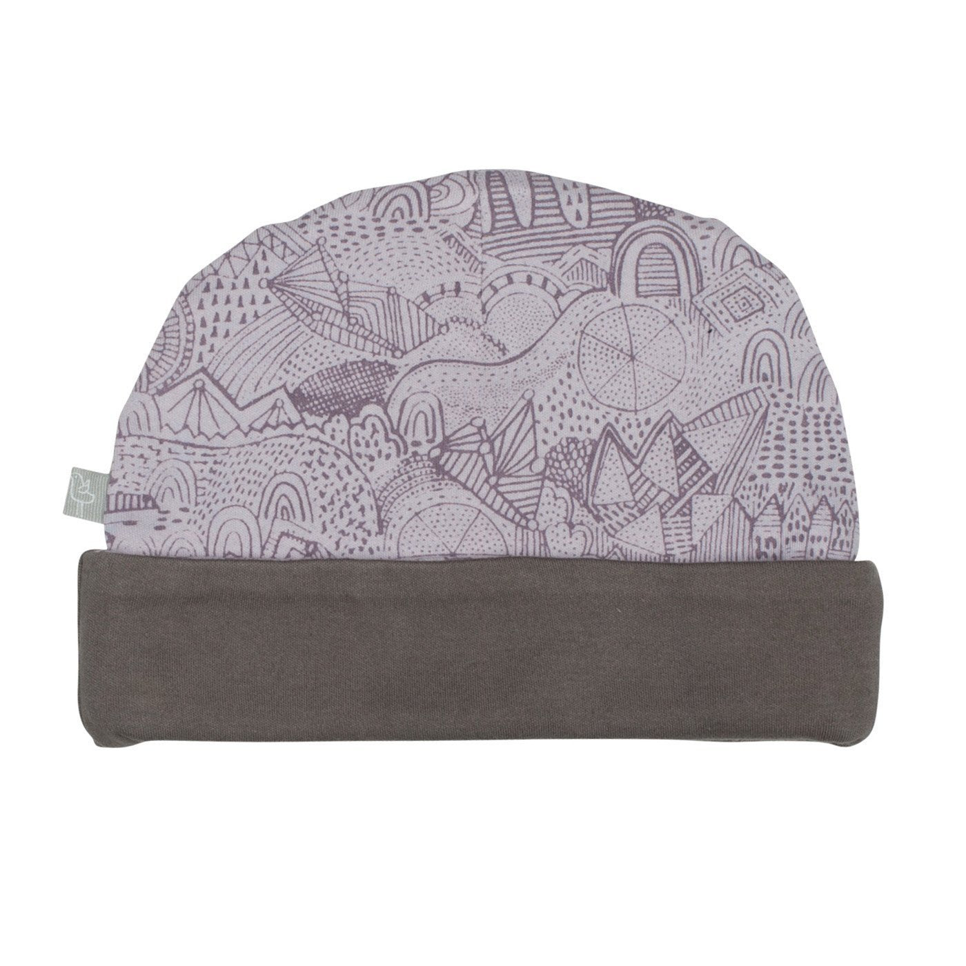 Finn and Emma organic cotton beanie for babies in charcoal and fairytale print