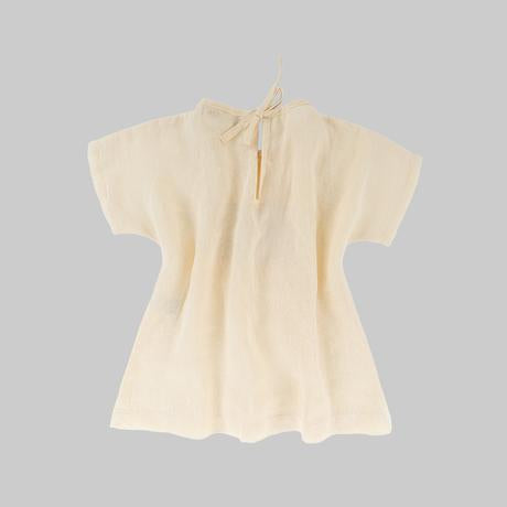 Back of Omibia Bella organic linen dress in cream