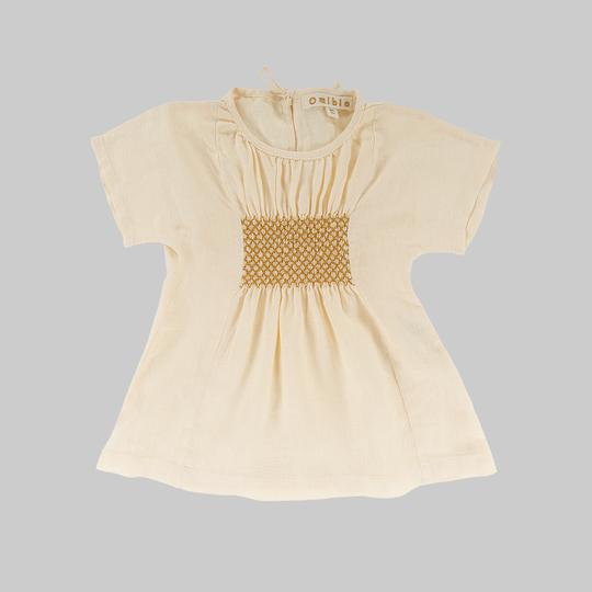 Omibia Bella organic linen dress in cream