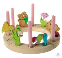 Grimm's wooden birthday ring - 12 hole natural with pink candles and wooden decorations