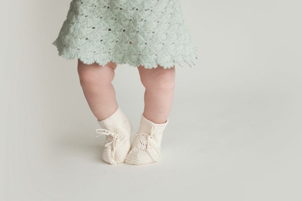 Miou organic cotton Bisou Dress in seafoam green with cream booties