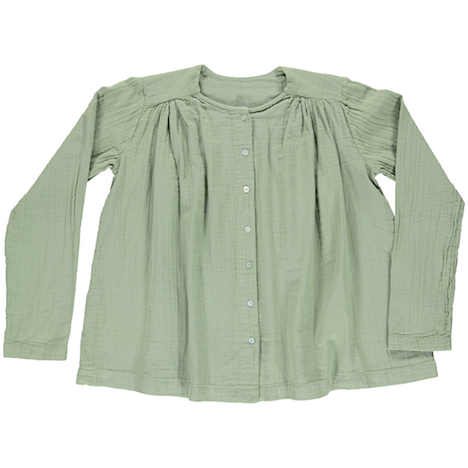 Poudre Organic women's long sleeve blouse in oil green