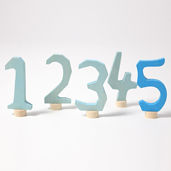 Grimm's wooden decorative numbers set 1-5 blue