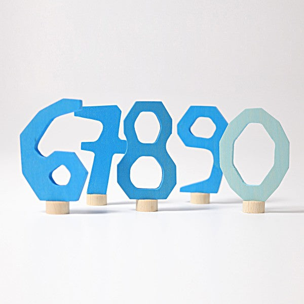 Grimm's wooden decorative numbers set 6-9 and 0 blue
