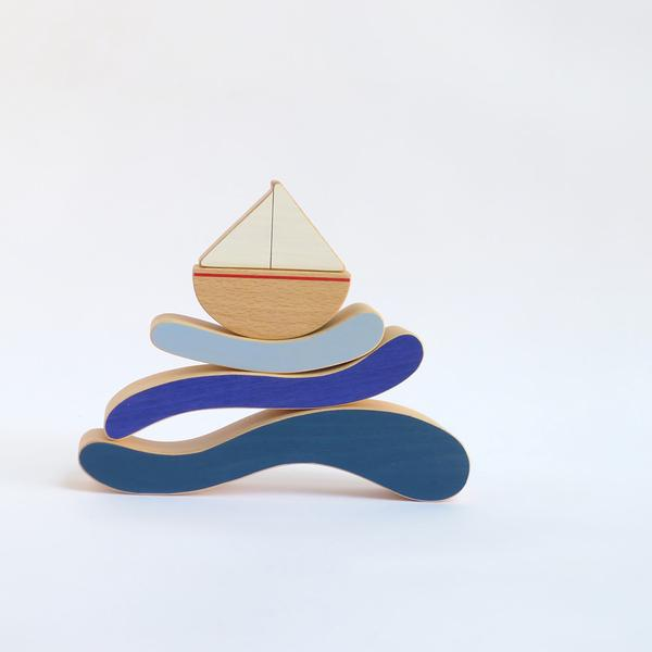The Wandering Workshop wooden boat with waves stacking toy