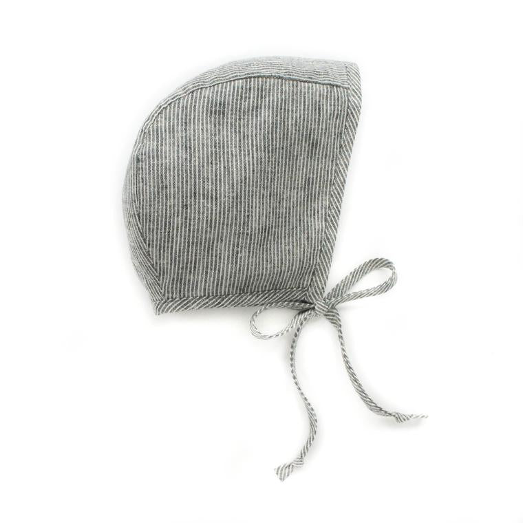 Briar Handmade natural stripe grey baby bonnet
