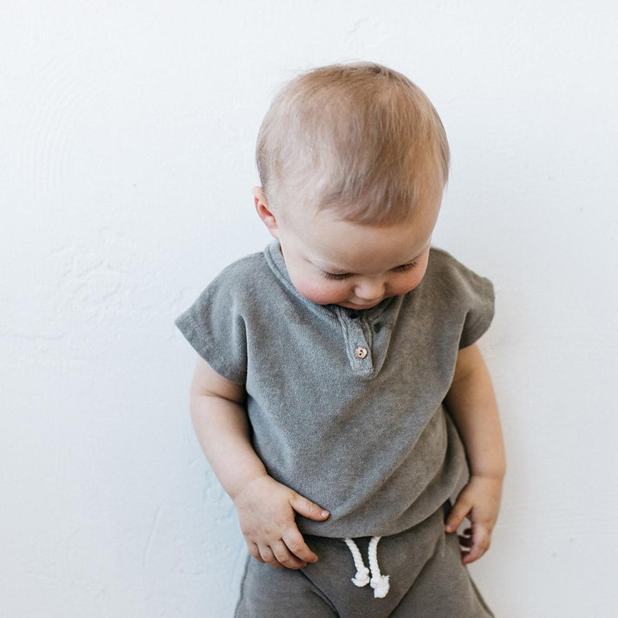 KidWild organic cotton terry box tee - coriander