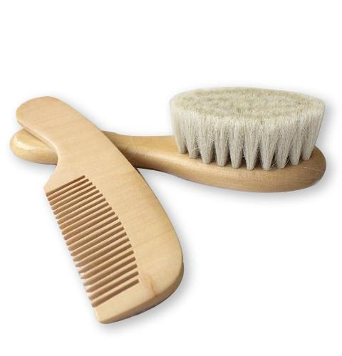Goat hair baby brush with wooden handle and wooden comb set