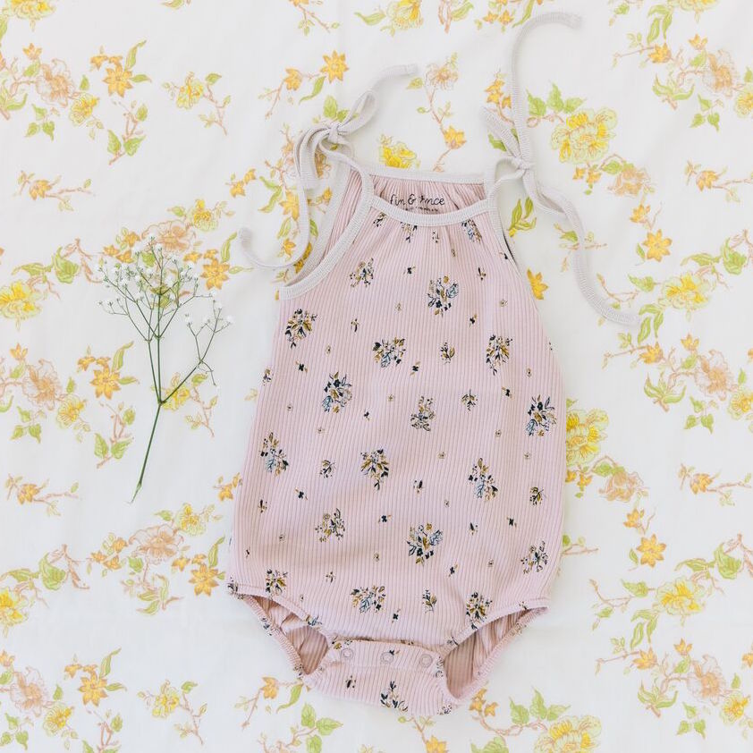 Fin and Vince Bubble Tie Onesie - Pretty In Floral