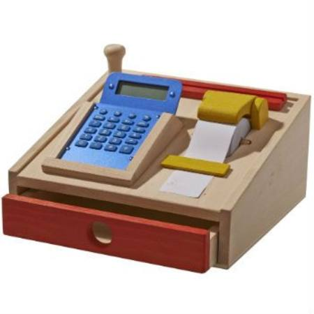 Gluckskafer wooden toy cash register